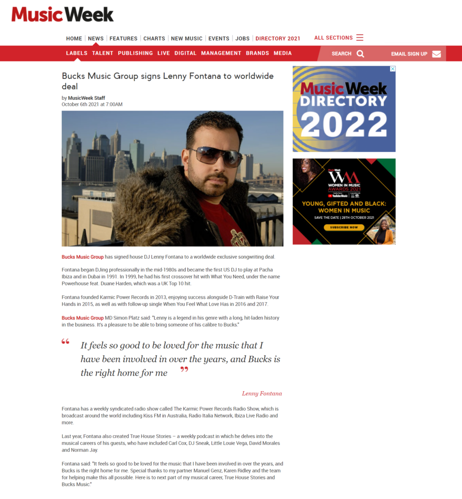 06.10.2021 Bucks Music Group signs Lenny Fontana to worldwide deal